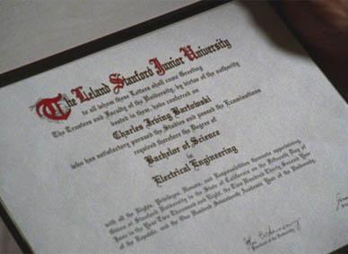 Chuck's diploma